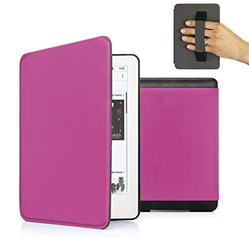 MyGadget PU Leder Hülle für Amazon Kindle Paperwhite (2018) 10. Generation - Handschlaufe und Schlaf Funktion Magnetische Kunstleder Flip Hülle - Pink
