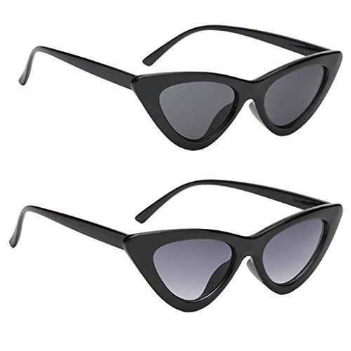 MagiDeal Eye Cat Sunglasses Lunettes de Soleil Femme UV 400 Monture Noir Pack / 2 Paires