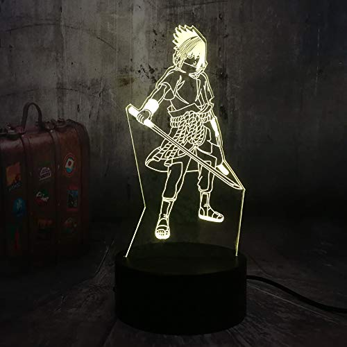 Naruto Acryl 3D Nachtlichter Uchiha Sasuke Anime Figur USB LED Tischlampe Touch Control Home 3D Kunst Lampe - 3D Lichter Optische Täuschungen 7 Farbwechsel Schlafzimmer Dekor Nachtlicht Geschenke