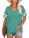 MOLERANI Camisetas Mujer, Camisetas de Verano a Rayas con Cuello en V de Manga Corta, Camiseta Holgada Informal, Verde Hierba, Talla M