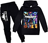 Youth Fashion Pullover Hoodie and Sweatpants Suit for Boys Girls 2 Piece Outfit Sweatshirt Set Black