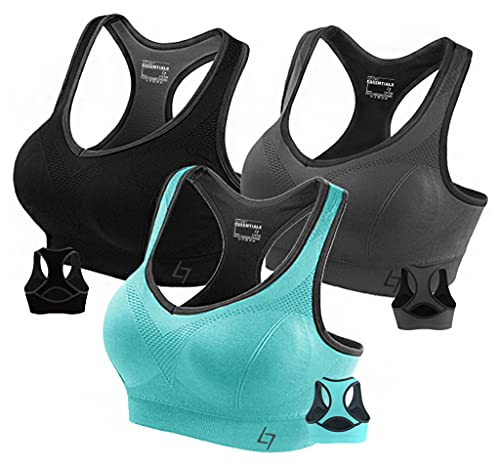 Product Image of the Fittin Womens Padded Sports Bras Wire Free with Removable Pads Pack of 3...