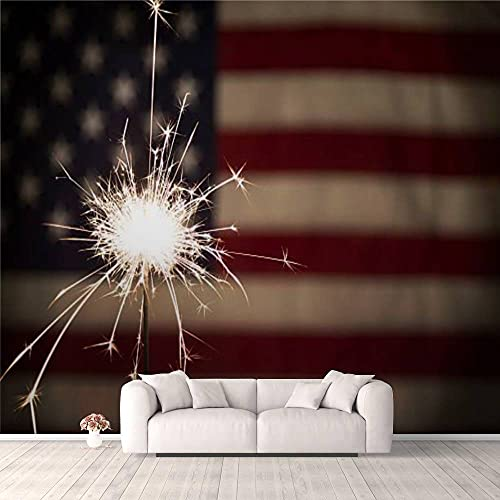 Modern 3D Sparkler with American Flag Horizontal Wallpaper Stick and Peel Wall Stickers Removable Wall Paper Mural for Living Room Bedroom TV Background Wall