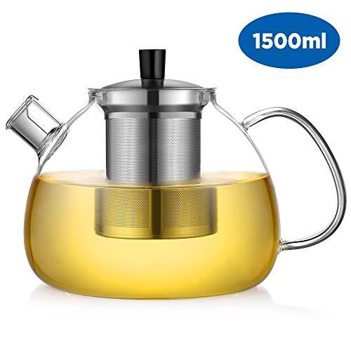 ecooe Teekanne Glas Teebereiter 1500 ml mit abnehmbare Edelstahl-Sieb Glaskanne Aufheizen auf dem...