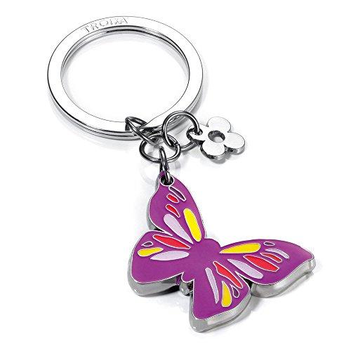 """TROIKA Schlüsselanhänger ,,LITTLE BUTTERFLY\"""" - KR10-40/CH - Schmetterling mit Blume, lila - Metall / Emaille - Blumen-Anhänger - für Frauen & Mädchen - das Original von TROIKA"""