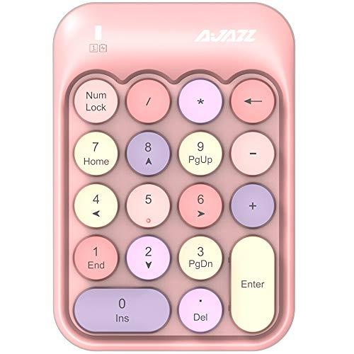 FELiCON Nummernblock, 18 Tasten, kompakt, tragbar, leise, für Windows, iMac, MacBook, Laptop, Desktop, PC, Laptop, Rechnung, Dateneingabe (rosa)