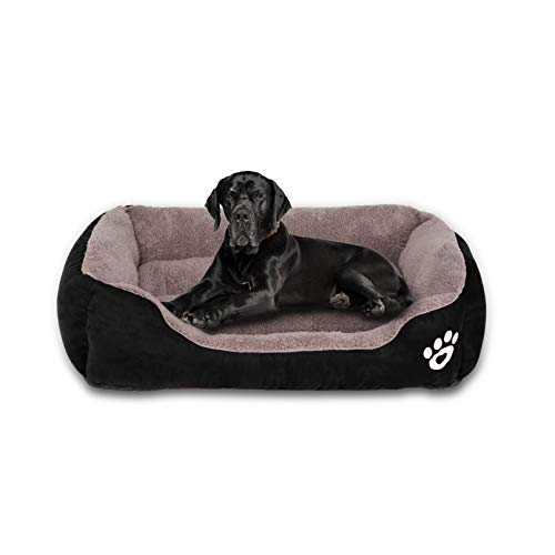 GoFirst Dog Bed Medium, Warm Soft Comfortable Pet Bed Sofa XL 80 * 60cm for Medium Dogs Cats Small Pets - Black