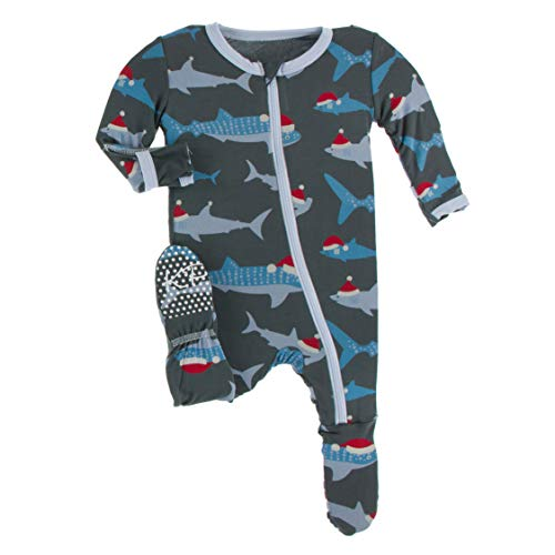 KicKee Pants Print Footie with Zipper, Fitting Long Sleeve Pajama Baby Bodysuit, Ultra Soft Everyday Onesie Loungewear, Baby Clothes for Boys and Girls (Pewter Santa Sharks - 9-12 Months (Infant))