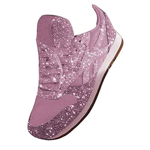 ORANDESIGNE Damen Pailletten Sneaker Flach Schuhe Freizeit Schnürer Sportschuhe Glänzende Schuhe Laufschuhe Sneaker Rosa 37 EU