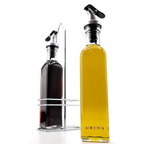 A|M|I|N|A Essig und Öl Spender Set - Toscana 2 x 250 ml Ölflaschen mit Halterung | Auslaufsicher und Tropffrei | mit Anti-Schmutz Verschluss