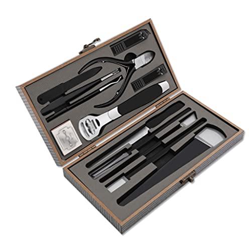 WYFC Conjunto de manicura - Kit de Cuidado de pedicura Profesional de Acero Inoxidable Kit de Cuidado del Kit de preparación for el Cortador de cutículas portátil for Viajar (Color : Gris)