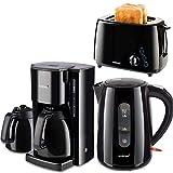 3 Teile 1 Preis schickes schwarzes Design Kaffeemaschine mit 2 Thermokannen,Toaster,Wasserkocher die Kaffeemaschine hat eine integrierter Aromafunktion!!!
