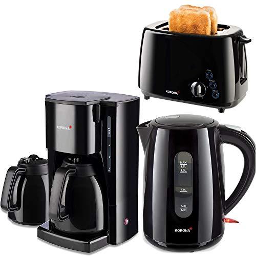 Kor.2 Frühstücksserie im trendigen schwarz mit Kaffeeautomat mit 2 Thermokannen!!3 Geräte 1Preis