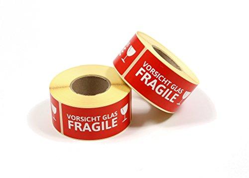 Stickers 'VOORZICHT GLAS/FRAGILE' etiketten 500 stuks