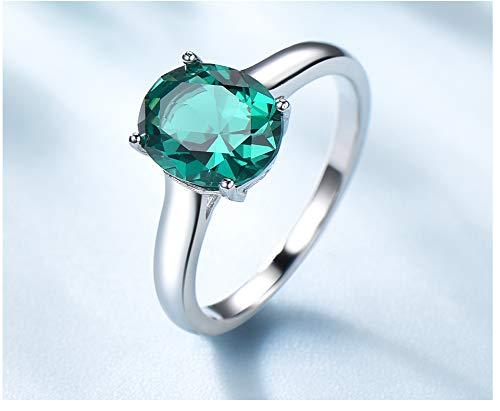 Luxe smaragd verlovingsring trouwringen fijne sieraden voor vrouwen echte 925 sterling zilveren ovale gem