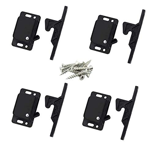 Set of 4 Premium Grabber Catches 10LB Pull Force RV Cabinet Door Latch - Baby Safety Locks for Camper, Trailer, Motor Home, Kitchen, Motorhomes, Boats, Drawer Latches - OEM Replacement- Push to Close