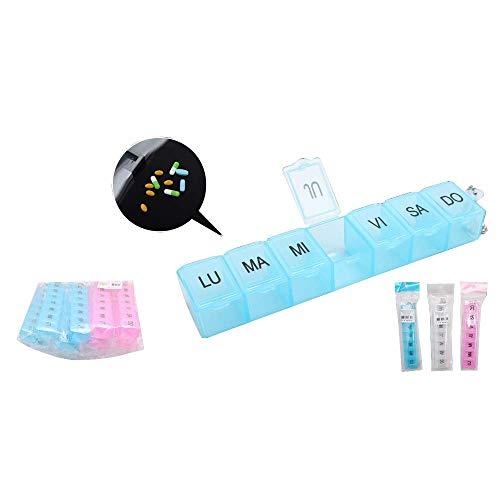 Unishop Pastillero semanal Organizador Semanal de Pastillas Caja de Pastillas 7 días Pastillero Semanal Multicolor Dispensador de Medicamentos (3x 7 compartimentos)