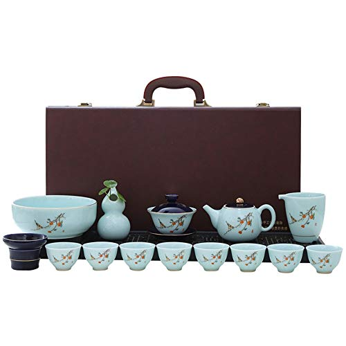 Juego de té para té de la Tarde Tetera China de té de Porcelana China Kung fu Viaje Taza Taza Hecha a Mano té Taza Taza Conjunto Conjunto de Tetera (Color : Blue, Size : One Size)