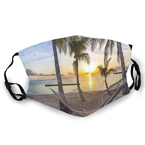 Fashion Activated Carbon Mask,Paradise Beach with Hammock and Coconut Palm Trees Horizon Coast Vacation Scenery,Comfortable Facial Decorations for Unisex Adults