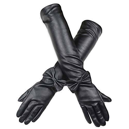Luwint Faux Leather Black Long Gloves for Women, Fashion Female Decorated Bow Long Mittens