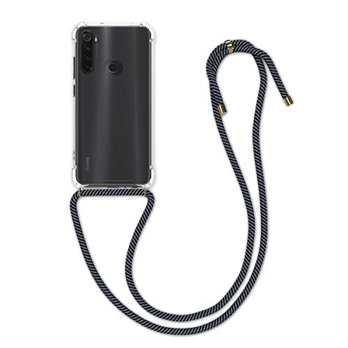 kwmobile Carcasa con Cuerda Compatible con Xiaomi Redmi Note 8T - Funda Transparente de TPU con Cuerda para Colgar en el Cuello