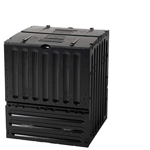 Geschlossener Schnell-Komposter 600 Liter: ECO-King, schwarz, aus 100{a49e2966f95a40272e05b83370f6f1f33a436fb9aa95b8253cc0b85bad2e9979} recyceltem PP, Made in Germany