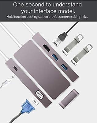 YIWENTEC USB C HDMI VGA Hub USB 3.1 Type-c to HDMI 3840x2160 4K VGA USB3.0 USB2.0 USB C PD Docking Cable Adapter
