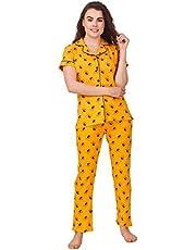 Masha Women's Cotton Night Suit-Bee Print