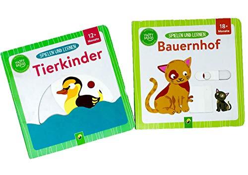 2-er Set Spielen und Lernen-Buch Tierkinder & Bauernhof+ Gratis Minis Überraschung