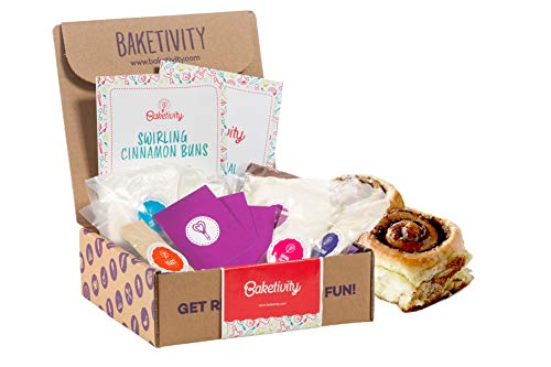 BAKETIVITY Kids Baking DIY Activity Kit - Bake Delicious Cinnamon Buns with Pre-Measured Ingredients – Best Gift Idea for Boys and Girls Ages 6-12