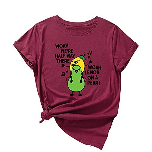 shirts Funny Fruits Sing Graphic Tee para las mujeres manga corta 100% algodón verano T Tops Mujer Kawaii Ropa