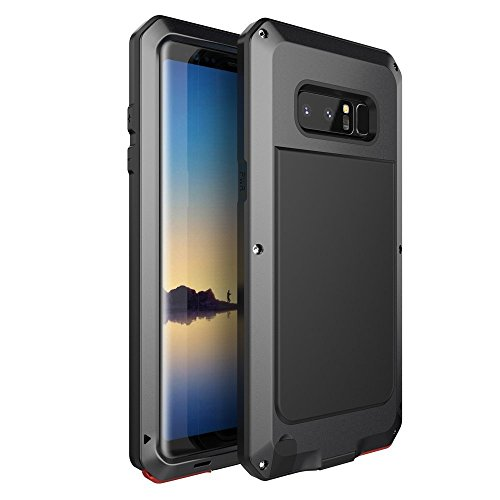 Galaxy Note 8 Case,Bixby Button Water Resistant Shockproof Aluminum Metal Super Anti Shake Silicone Fully Body Protection for Samsung Galaxy Note 8-2017 Newest Released -Matte Black