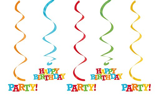 Creative Converting 5-Count Dizzy Suspensions à Suspendre Anniversaire Rayures serpentins, Multicolore