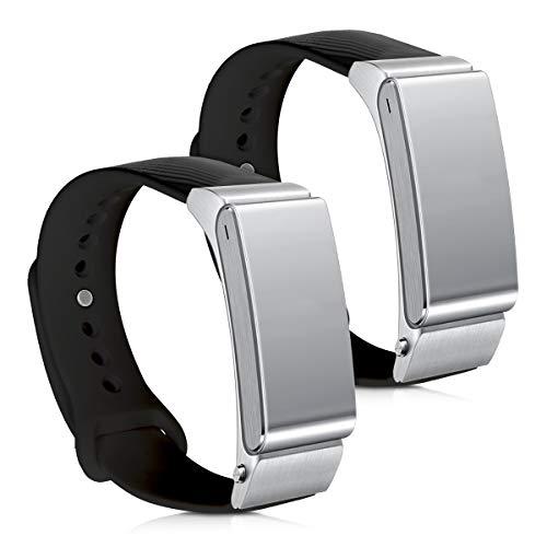 kwmobile 2X Pulsera Compatible con Huawei Talkband B2 - Brazalete de Silicona en Negro sin Fitness Tracker