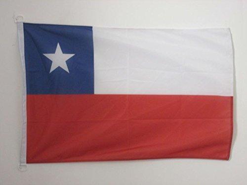 AZ FLAG Bandera Nautica de Chile 45x30cm - Pabellón de conveniencia CHILENA 30 x 45 cm Anillos