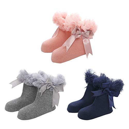 Happy Cherry -Girls Child School Performance Socks Princess Plain Bobby Socks Baby Christmas Ankle Stocking Puffy Mesh Net Yarn Winter