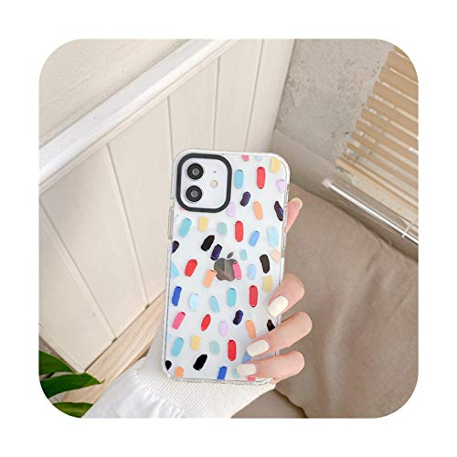 Pintura al óleo Graffiti Love Heart Phone Case para iPhone 12 11 Pro Max XR XS Max X 7 8 Plus 12 Mini SE 2 Clear Soft Silicone Cover-T3-Para iPhone 12