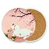 Posavasos de cerámica para bebidas absorbentes – Maneki Neko Lucky Cat Festival de corcho, juego de 4 posavasos para decoración de mesa de café