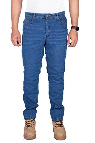 HB Motorrad Aramid Gefüttert K Jeans. Verstärkte Motorradhose mit freien Rüstungen. Blau 40W x 30L