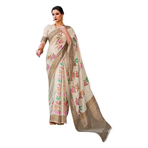 Blanco desteñido de hilo de cristal suave tejido a mano de seda de las mujeres saree festival étnico musulmán eid zari blusa sari 9250