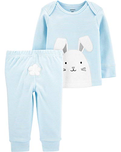 Carter's Baby Boys' 0M-24M 2 Piece Easter Top and Pants Set (Newborn, Blue/White)