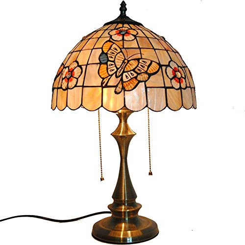 """KELITINAus 12"""" Natural Shell Table Lamps Style Stained Glass Art Decor Lampshade Table Lights for Bar Living Room Bedside Lamp"""