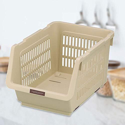 HIHNLI opbergdoos voor keuken, multifunctioneel PP-materiaal, kan worden overgelopt, mobiele opbergmand, oranje/groen/grijs, multifunctionele toepasbaar
