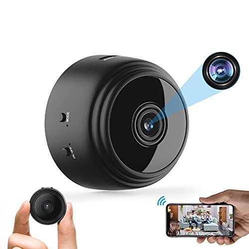 MAQRLT Mini cámara espía con Audio, cámara doméstica Inteligente de 1080p HD con visión Nocturna, con cámara WiFi inalámbrica de teléfonos celulares, para casa/Oficina/automóvil