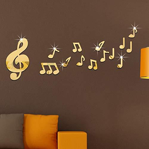 KWYAN Salle de Musique Dance Studio Miroir Musical Stickers Muraux Baby Room Stickers Muraux pour Chambres d'enfants Décor À La Maison Collège dortoir Décoration Cadeau de Noel