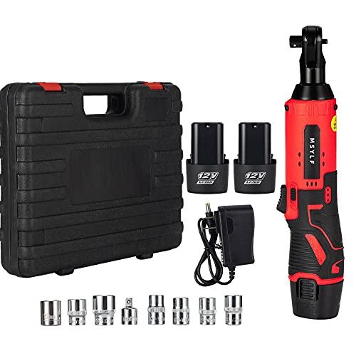 Llave de trinquete eléctrica inalámbrica de 12 V Kit de herramientas de trinquete Juego de llaves de trinquete inalámbrica de 3/8 'con paquete de 2 baterías de iones de litio de 3000 mAh 7 tomas