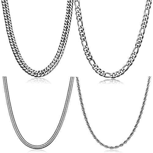 Stainless Steel Chain Necklace for Women/Men, 4 Pcs Gold/Silver Rope Chain| Snake Chain | Figaro Chain Necklace Set 16/18/20 Inch (Silver, 18.0)