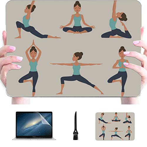 Mac Computer Cover Yoga Cartoon Healthy Girl Plastic Hard Shell Compatible Mac Macbook Pro 15 Cover Protection Accessories For Macbook With Mouse Pad