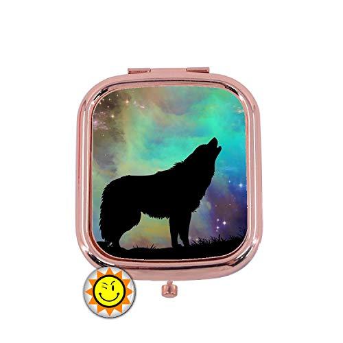 creosoleil Miroir de Poche Femme Cadeau Fantaisie Original Loup Lune Animal