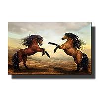 キャンバス動物野生の馬をペイントする2頭の馬は、廊下のための装飾印刷ハンギング枠なしの絵クリエイティブパーソナリティホーム装飾壁を塗装していません,50×75cm